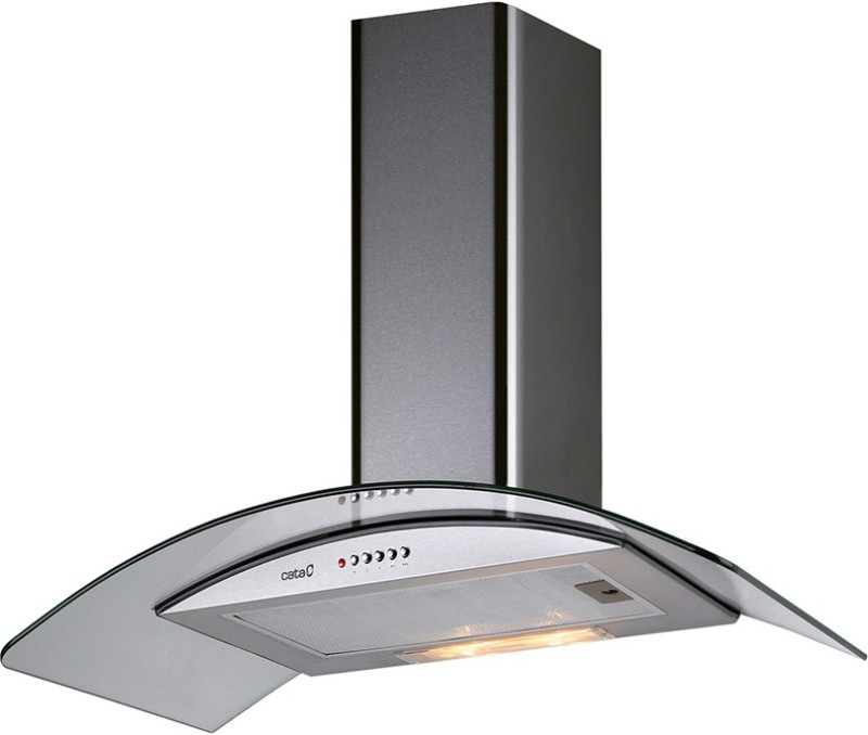 Cata Isla Curve C Glass ( with free cuttlery set from giftipedia) Ceiling Mounted Chimney(Stainless Steel 1115)