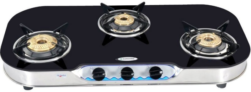 Sunshine Stainless Steel, Glass Automatic Gas Stove(3 Burners)