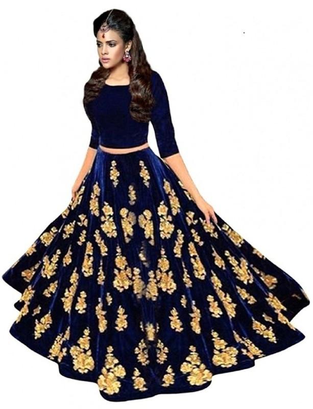 Omstar Fashion Embroidered Semi Stitched Lehenga Choli(Blue)