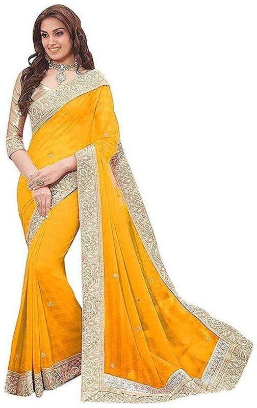 Unique Enterprise Self Design Bollywood Georgette Saree(Yellow)