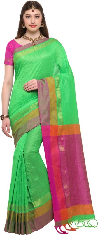 Swaron Woven, Solid Bhagalpuri Poly Silk Saree(Green, Pink)