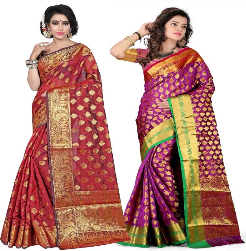 Aksh Fashion Embellished Kanjivaram Banarasi Silk Saree(Pack of 2, Multicolor)