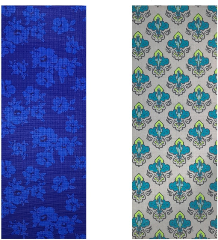 Vritraz Printed, Extra Thick, Premium, Eco Safe, Non Slip With Free Carry Bag BlueDark GreenPattern (Pack of 2) Blue 6 mm Exercise & Gym Mat