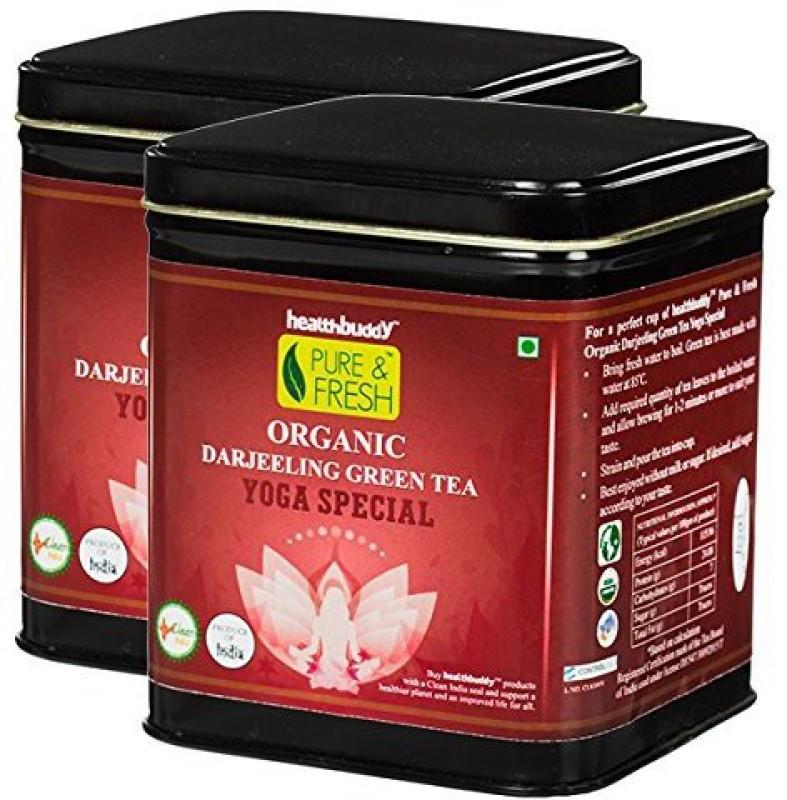 Healthbuddy Organic Yoga Special Green Tea, 2 Packs of 100 gm Each Herbs Green Tea(200 g, Box)