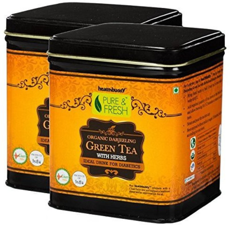 Healthbuddy Organic Darjeeling Green Tea With Herbs (Diabetics), 2 Packs of 100 gm Each Herbs Green Tea(200 g, Box)