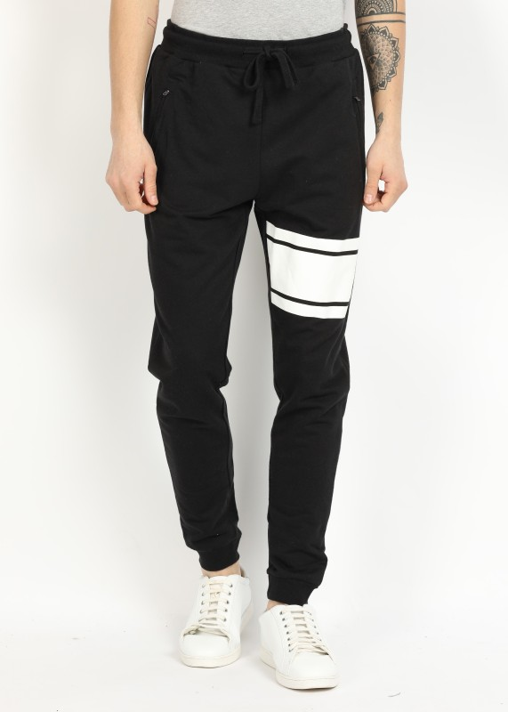 French Connection Maks Striped Mens Black Track Pants