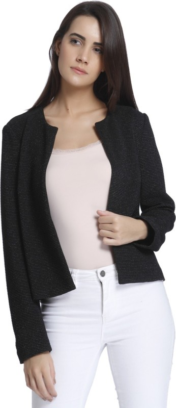 Vero Moda Solid Single Breasted Casual Women Blazer(Black)