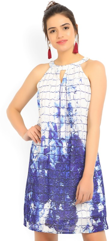 AND Womens Shift White, Blue Dress