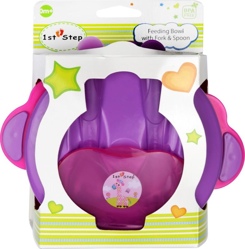 1st Step Feeding Bowl with Fork & Spoon - Food Grade Plastic(Pink, Purple)