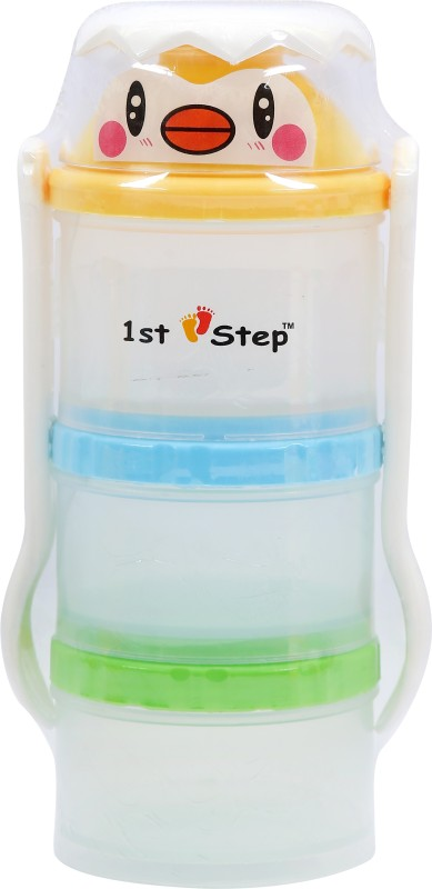 1st Step Food Container With Fork & Spoon - Food Grade Plastic(Blue, Green, White, Yellow)
