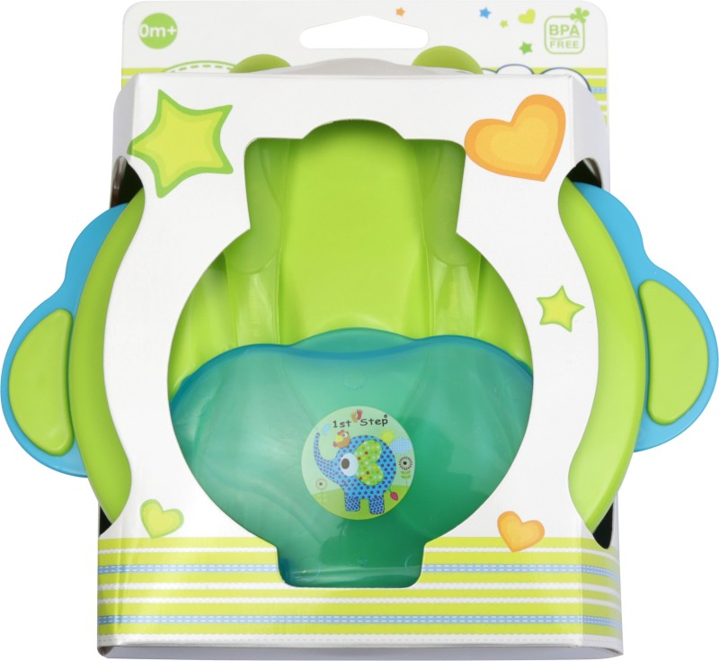 1st Step Feeding Bowl with Fork & Spoon - Food Grade Plastic(Blue, Green)