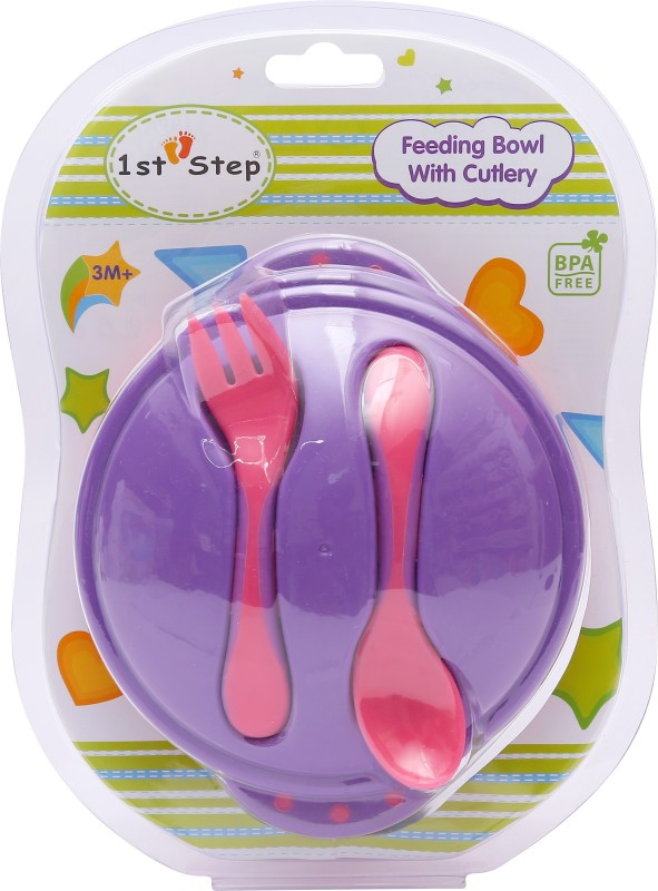 1st Step Feeding Bowl With Cultery - Food Grade Plastic(Purple, Pink)