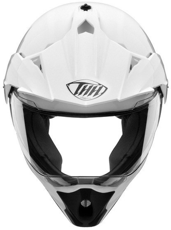 THH HELMETS THH TX 13 Matte white (Mirror Visor) Motorbike Helmet(White)