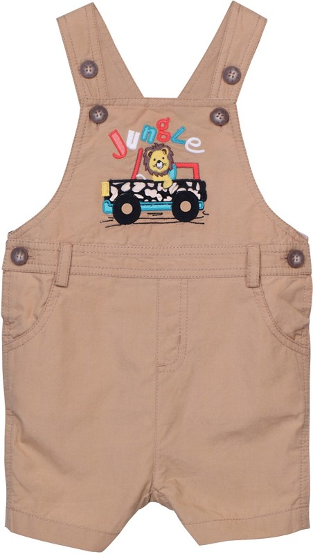 Beebay Dungaree For Boys Casual Applique Cotton(Beige, Pack of 1)