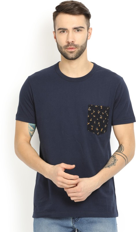 French Connection Solid Mens Round Neck Blue T-Shirt