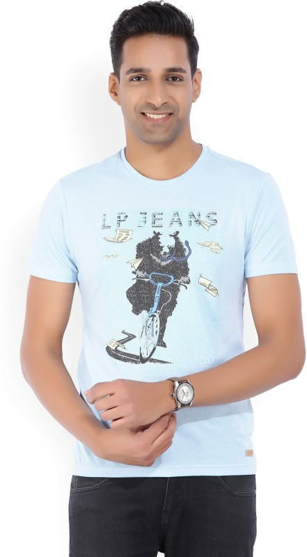 LP Jeans by Louis Philippe Printed Mens Round Neck Light Blue T-Shirt