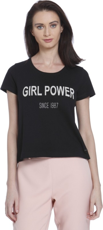 Vero Moda Casual Half Sleeve Printed Women's Black Top