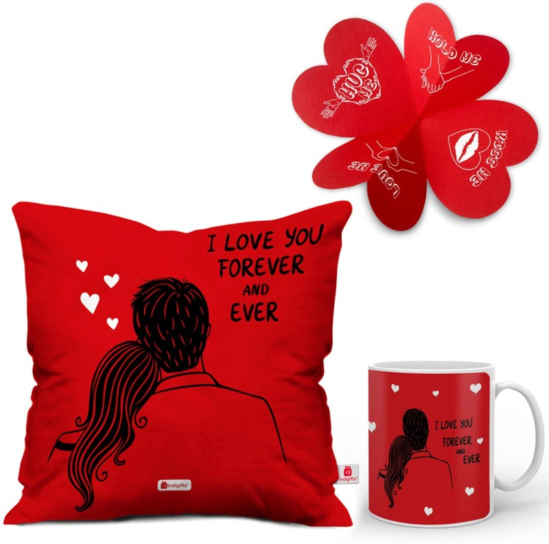 Indigifts Valentines Gift for Girls, Boyfriend, Love, Husband, Wife, Birthday, Anniversary, Engagement D-CM001-LOV16025 Cushion, Greeting Card, Mug Gift Set