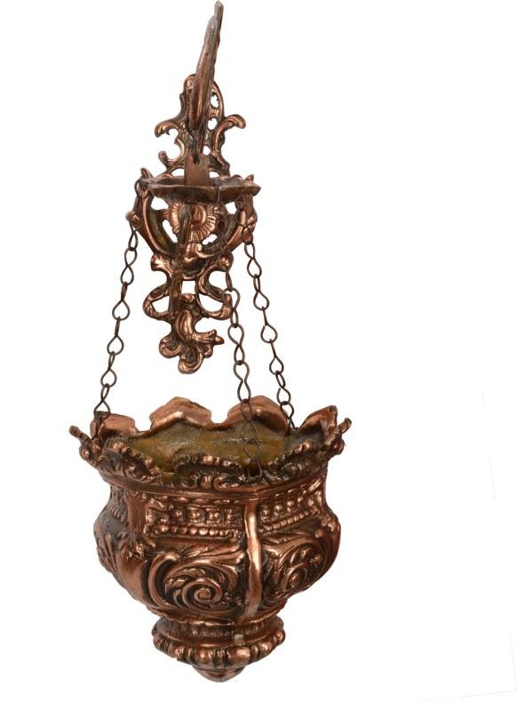 Abhushan Wall Hanging Flower Holder Vase Brass Vase(15 inch, Brown)