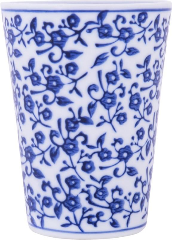 Chumbak Indigo Blossoms Glass(200 ml, Blue, Pack of 1)