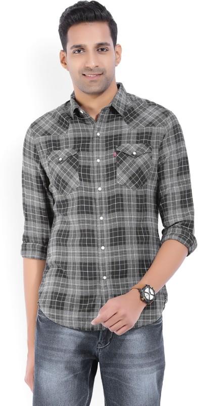 Levis Mens Checkered Casual Black, Grey Shirt