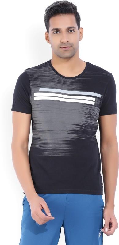 Wrangler Printed Mens Round Neck Black, Grey T-Shirt
