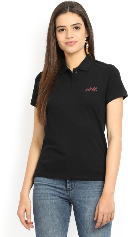 Levis Solid Womens Polo Neck Black T-Shirt