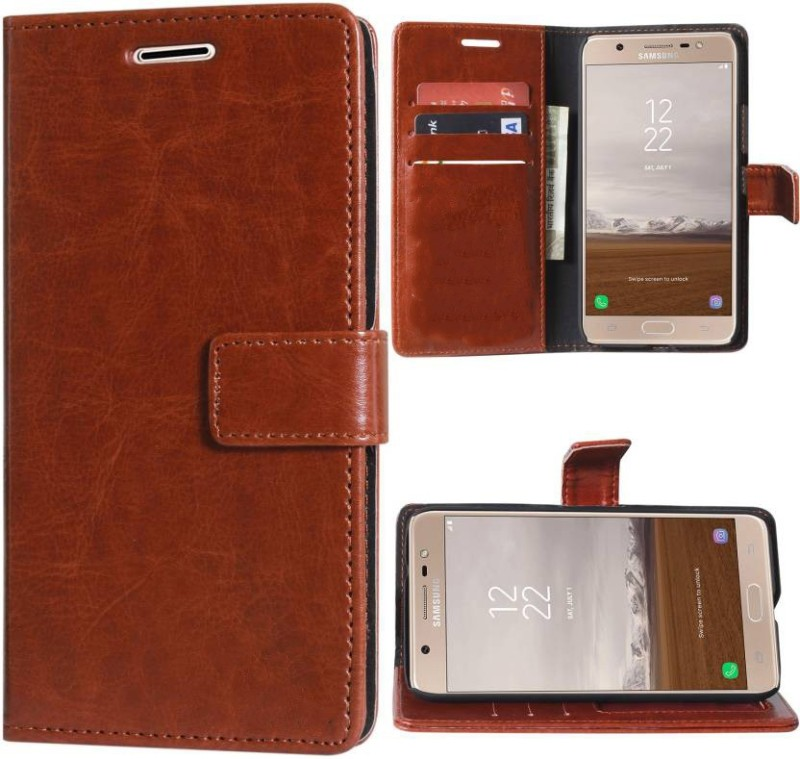 Groovy Flip Cover for Samsung Galaxy J7 Prime(Brown, Artificial Leather)