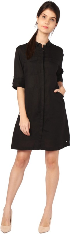 Allen Solly Womens A-line Black Dress