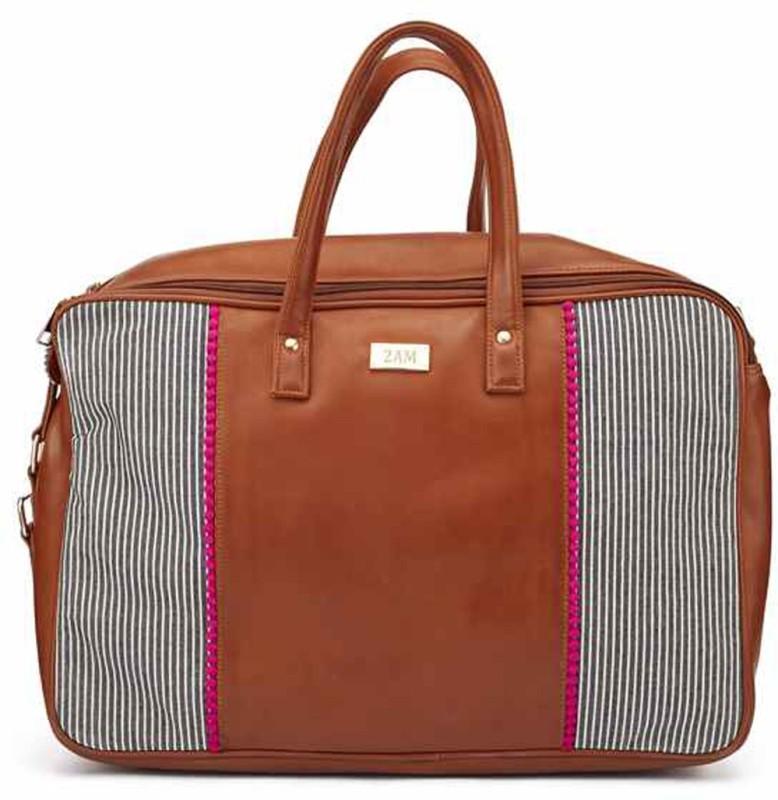 2AM Womens Leather Duffle Bag (Brown-Blue) Travel Duffel Bag(Brown)