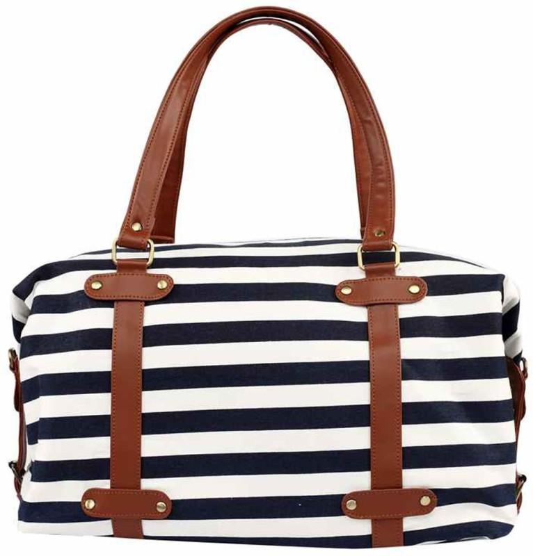 2AM Womens Leather Duffle Bag (Blue-White-Brown) Travel Duffel Bag(Brown)