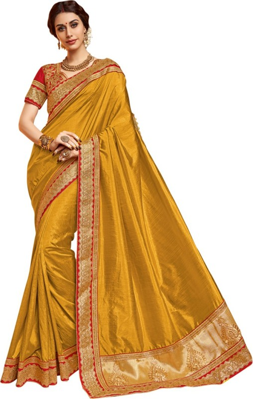Saara Embroidered Fashion Dupion Silk, Raw Silk Saree(Gold)