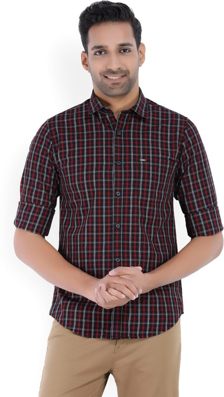 Peter England Mens Checkered Casual Red, Black, White Shirt