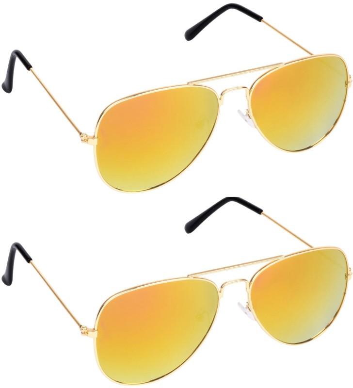 PekuNiary Aviator Sunglasses(Yellow) image