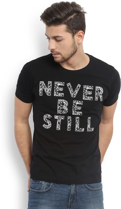 Wrangler Printed Mens Round Neck Black T-Shirt