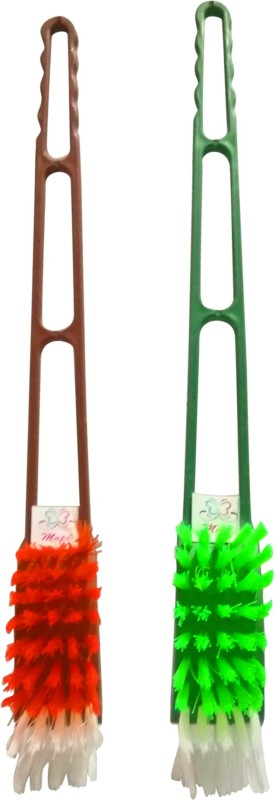 Mopi high quality plastic toilate brush pack of 2 Toilet Brush(Red, Green)