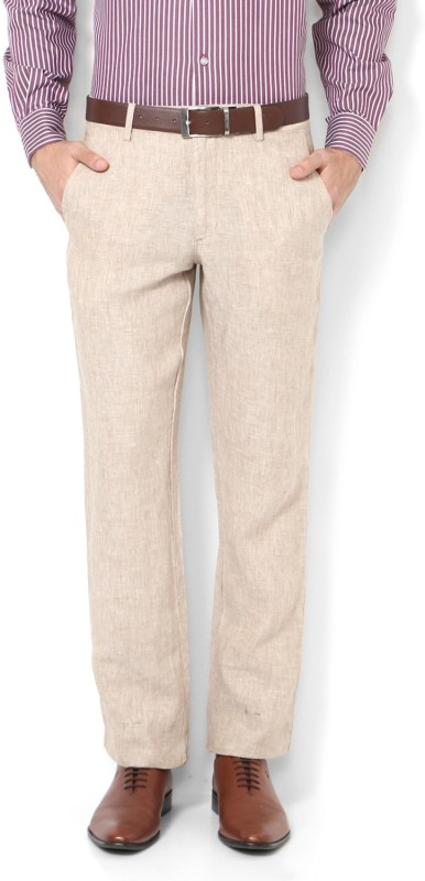 Van Heusen Slim Fit Men Linen Beige Trousers
