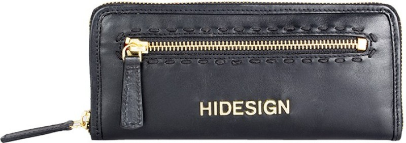 Hidesign Women Black Genuine Leather Wallet(1 Card Slot)