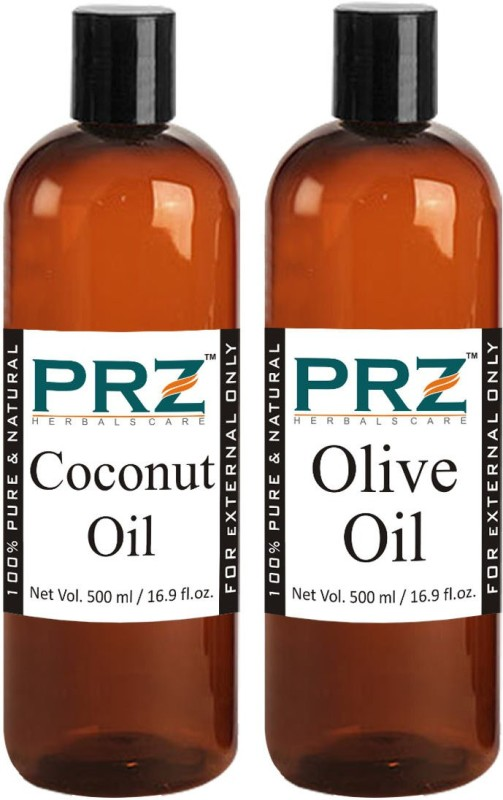 PRZ Combo of Extra Virgin Olive Oil & Extra Virgin Coconut Oil (Each 500ml)- Pure Natural For Aromatherapy Body Massage, Skin Care & Hair ReGrowth(500 ml)