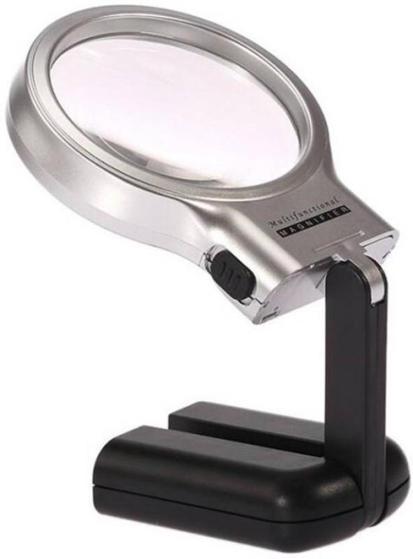 alipta Magnifier Lens Glass 3X Magnification Desktop Folding 3 in 1 Magnifying Glass(Black)