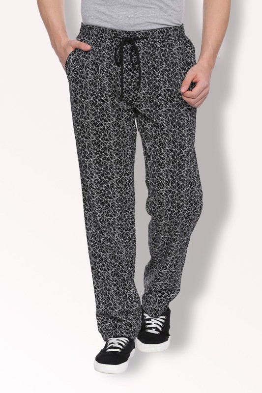 Van Heusen Printed Men Black Track Pants