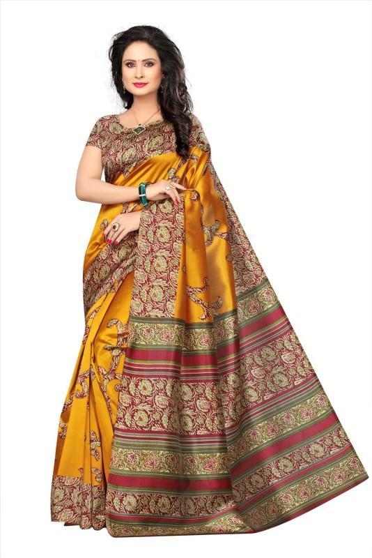 ee638888af2e1 Ratnavati Floral Print Bhagalpuri Art Silk Saree(Mustard