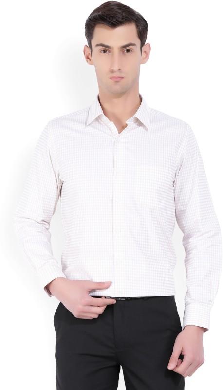 Peter England Mens Checkered Formal Beige Shirt