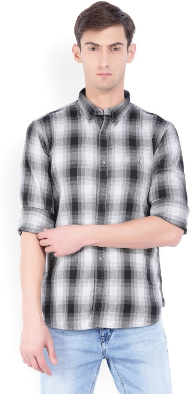 French Connection Mens Checkered Casual Black, Grey Shirt