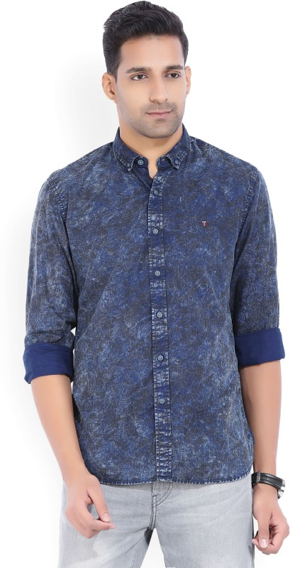 LP Jeans by Louis Philippe Mens Printed Casual Blue Shirt