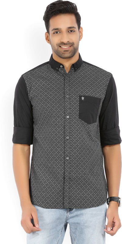 French Connection Mens Printed Casual Button Down Shirt