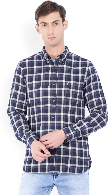French Connection Mens Checkered Casual White, Blue Shirt