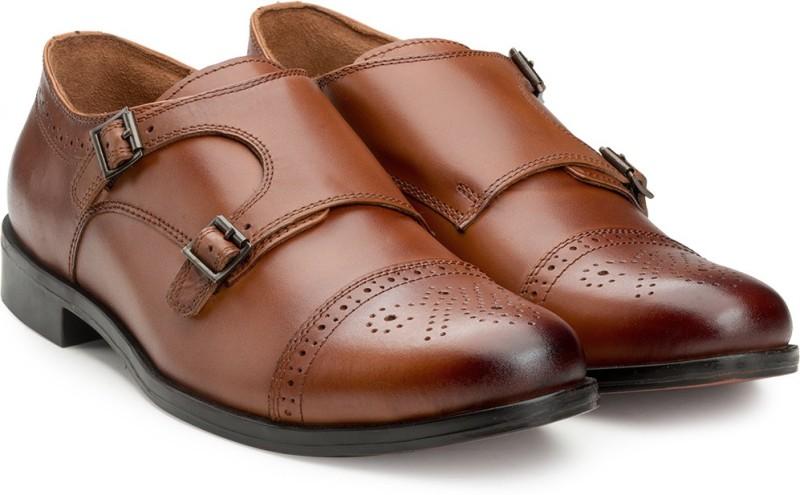 Escaro Mens Leather Formal Monk Strap For Men(Tan)