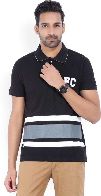 French Connection Striped Mens Polo Neck Black T-Shirt