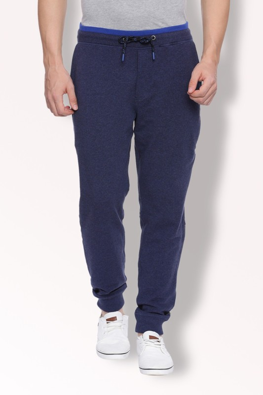 Van Heusen Solid Mens Dark Blue Track Pants